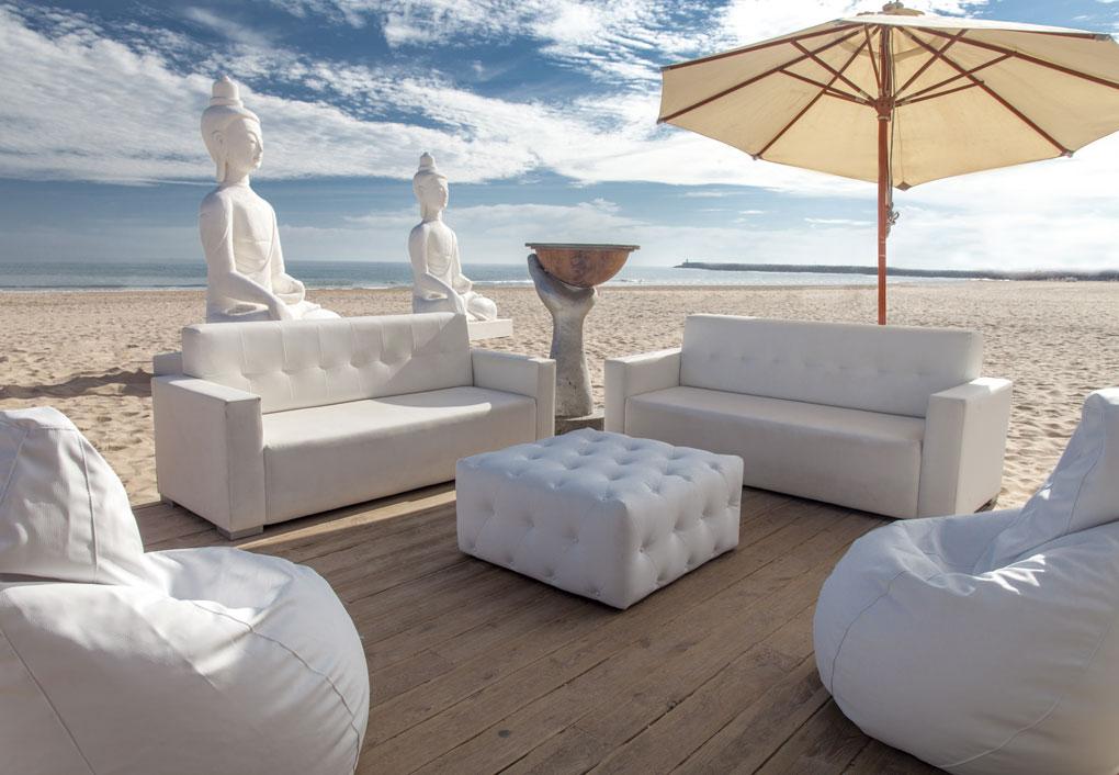 Sof varios y muebles de exterior tapizados carrasco puff for Sofa chill out exterior